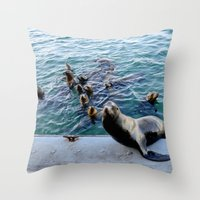 lions Throw Pillows featuring Sea Lions by KatieKatherine