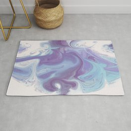 Purple, Blue, and White Abstract Rug