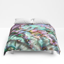 Glowing Cotton Candy Pink & Green Abalone Mother of Pearl Comforters