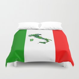 Map of Italy and Italian Flag Duvet Cover