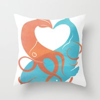 Throw Pillows featuring Hug It Out by Chase Kunz