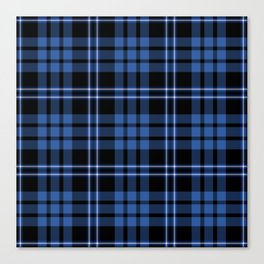 Blue & White Scottish Tartan Plaid Pattern Canvas Print