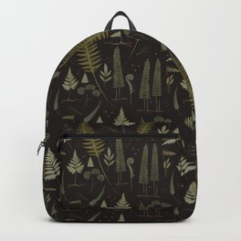 Fern pattern black Backpack