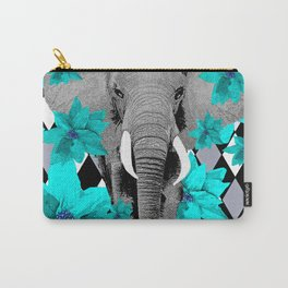 ELEPHANT and HARLEQUIN BLUE AND GRAY Carry-All Pouch