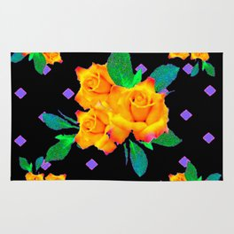 Black & Violet Golden Roses Pattern Rug