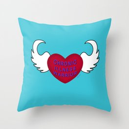 Chronic Illness Warrior Flying Heart Throw Pillow