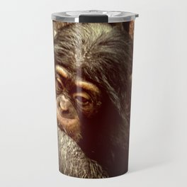 Baby Chimpanzee Cuddling Close to Mom with Vintage Look Travel Mug
