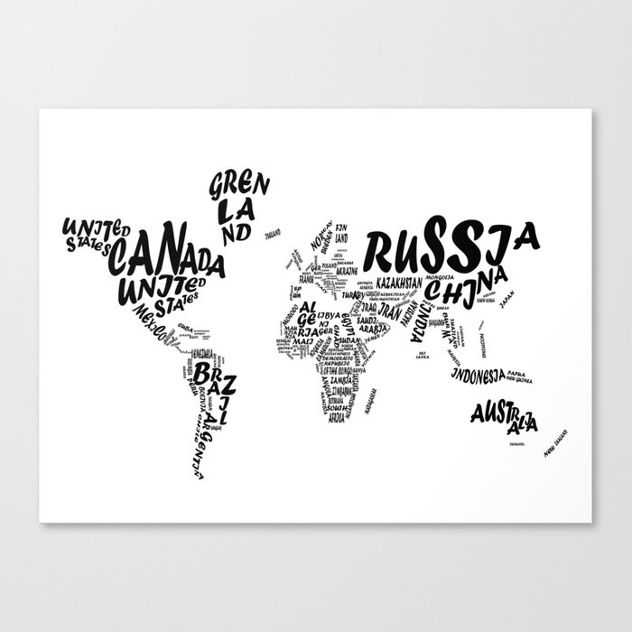 World Map Typography 2 Canvas Print By Bekimart Society6