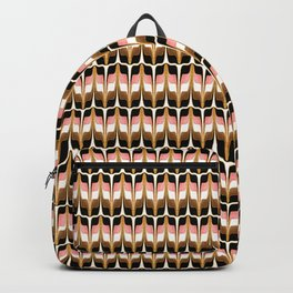 Mid Century Modern Liquid Watercolor Abstract // Gold, Blush Pink, Brown, Black, White Backpack