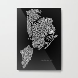 New York City, Black Metal Print
