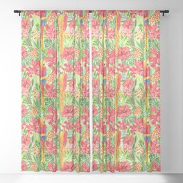 Land Of The Giant Hibiscus Sheer Curtain