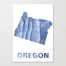 Oregon map outline Blue watercolor Canvas Print