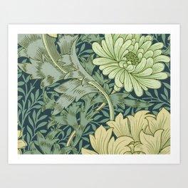 William Morris - Wallpaper Sample With Chrysanthemum Art Print