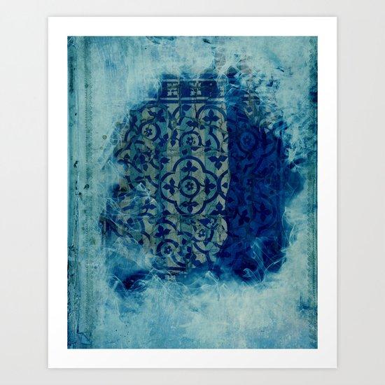 mosaic in cyan Art Print