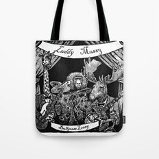 Luddy Mussy/ bull goose looney album cover black and white Tote Bag