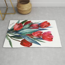 Red Tulips Floral Red,Turquoise Blue Artwork, garden tulips tulip lover design Rug
