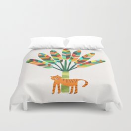 Whimsical travelers palm with tiger Duvet Cover