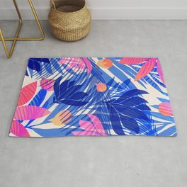 Breezy Tropics / Bright Abstract Floral Print Rug