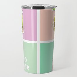 Hello Summer bright tropical card, pineapple, smoothie cup, ice cream, bubble tea. Kawaii cute face. Travel Mug