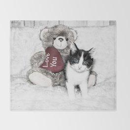 Valentines kitten and teddy Throw Blanket