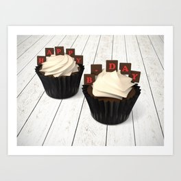 Happy Birth Day cup cakes Art Print