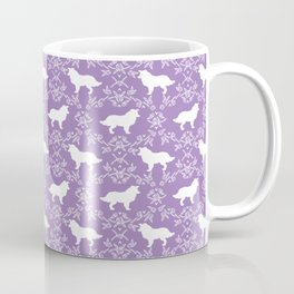 Border Collie silhouette minimal floral florals dog breed pet pattern purple and white Coffee Mug
