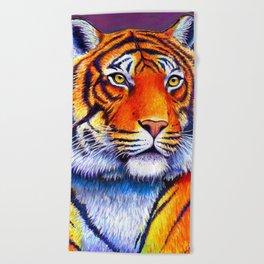 Colorful Bengal Tiger Portrait Beach Towel