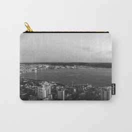 Seattle Summer Sunset from the Needle Panorama in Black and White Carry-All Pouch