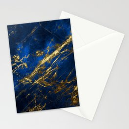 Blue Faux Marble With Gold Strike Veins Stationery Cards