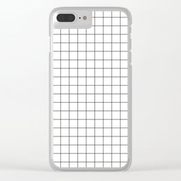Small Black Grid on White Clear iPhone Case