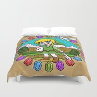 hyrule Duvet Covers featuring Hyrule Adventurer by Crimson Pumpkin