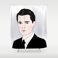 dale cooper Shower Curtains featuring Agent Cooper by Annika Bäckström