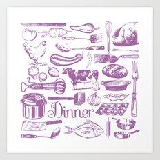 Retro Dinner - White Art Print