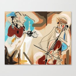 Cello and Guitar Player Musicians Painting Drawing Canvas Print