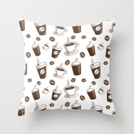 Modern Coffee Patern Throw Pillow