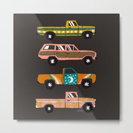 Retro Roads – Charcoal Metal Print
