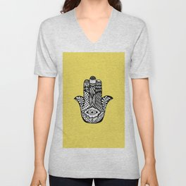 Hand Drawn Hamsa Hand of Fatima on Yellow Unisex V-Neck