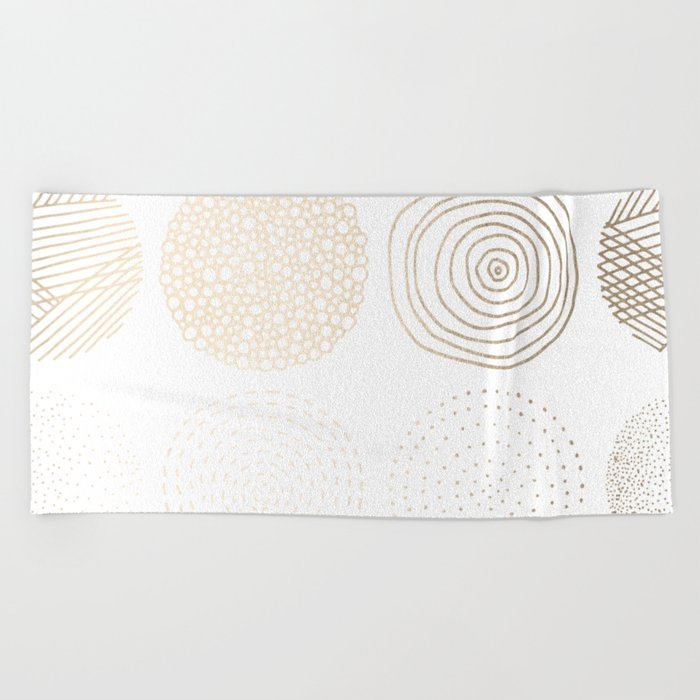 Simply Mod Circles in White Gold Sands on White Beach Towel