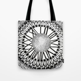 Time and Space Zoomed in Black, Grey, and White Mandala Tote Bag