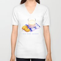 cookies V-neck T-shirts featuring Milk & Cookies by Nancy L. Hoffmann