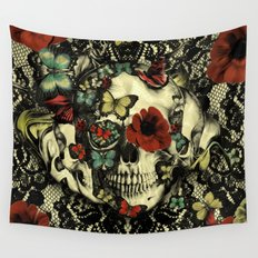 Vintage Gothic Lace Skull Wall Tapestry