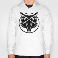 pentagram Hoodies featuring Pentagram Wolf Inverted by Mohrne