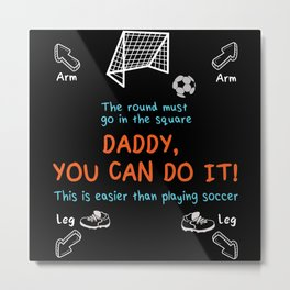 Dad Child Football Metal Print