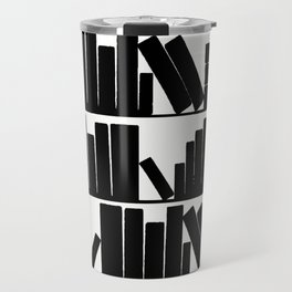 Library Book Shelves, black and white Travel Mug