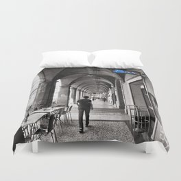Black and white Bologna Street Photography Duvet Cover
