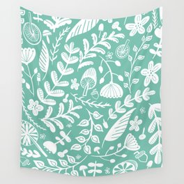 Forest Flora Green Wall Tapestry