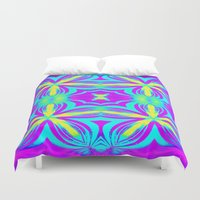 psychedelic art Duvet Covers featuring psychedelic Floral Fuchsia Aqua by 2sweet4words Designs