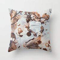 sleeping beauty Throw Pillows featuring Sleeping Beauty by Rose's Creation