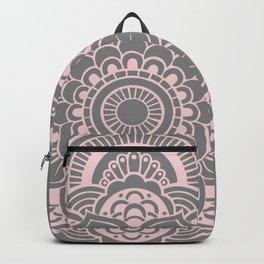 Mandala Flower Gray & Ballet Pink Backpack