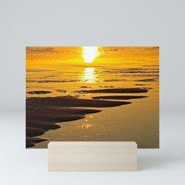 Beach Sunset Seashore Sand Texture Coastal Seaside Mini Art Print